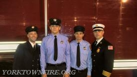 Firefighter Steve Fitzsimmons, Junior Corp 	Blake T Fahey, Firefighter Salvatore Coniglio and  	First Assistant Chief Derek J Grisanti missing Firefighter Vincent Alfano