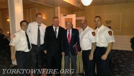 L-R  Asst Chief Mentrasti, Past Chief Slotoroff, Past Chief McGannon, 70 Year member Roger Thompson, Chief Swart and Asst. Chief Grisanti